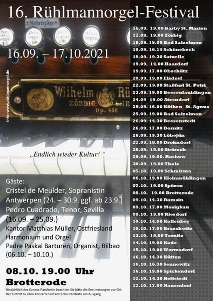 Freitag, 08. Oktober, um 19:00Uhr Konzert in der Kirche zu Brotterode im Rahmen des Rühlmannorgel-Festivals.  Wir freuen uns auf die Solisten Paskal Barturen und Matthias Müller.